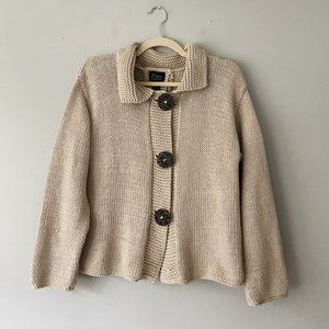 Anthropologie Pure Handknit Knit Button Cardigan